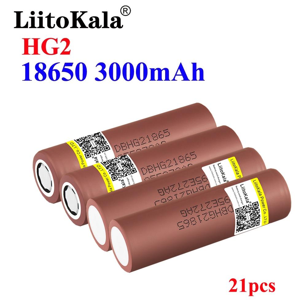 21 قطعة LiitoKala100 ٪ الأصلي HG2 18650 بطارية 3000mAh بطارية 3.6V التفريغ 30A مخصصة