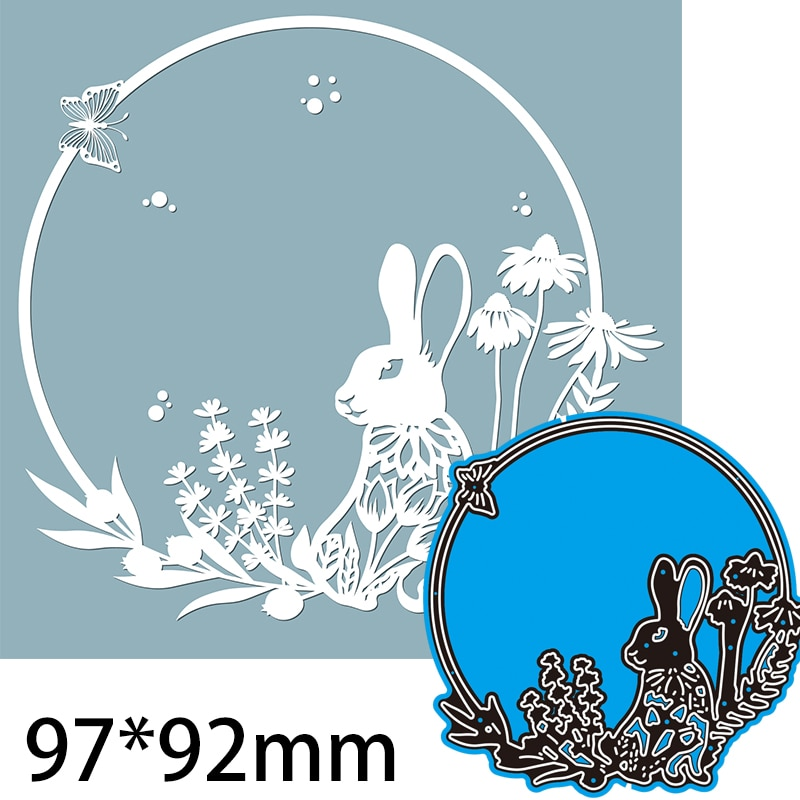 Cutting Dies  Hare in a Round frame, with Patterns, Flowers DIY Scrap Booking Photo Album Embossing Paper Cards 97*92mm Rabbit