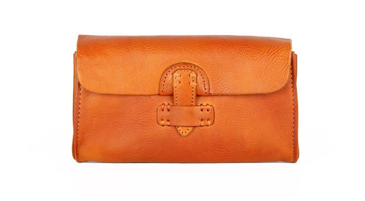 Couro genuíno pele de vaca mulheres bolsa artesanal carteira longa do vintage