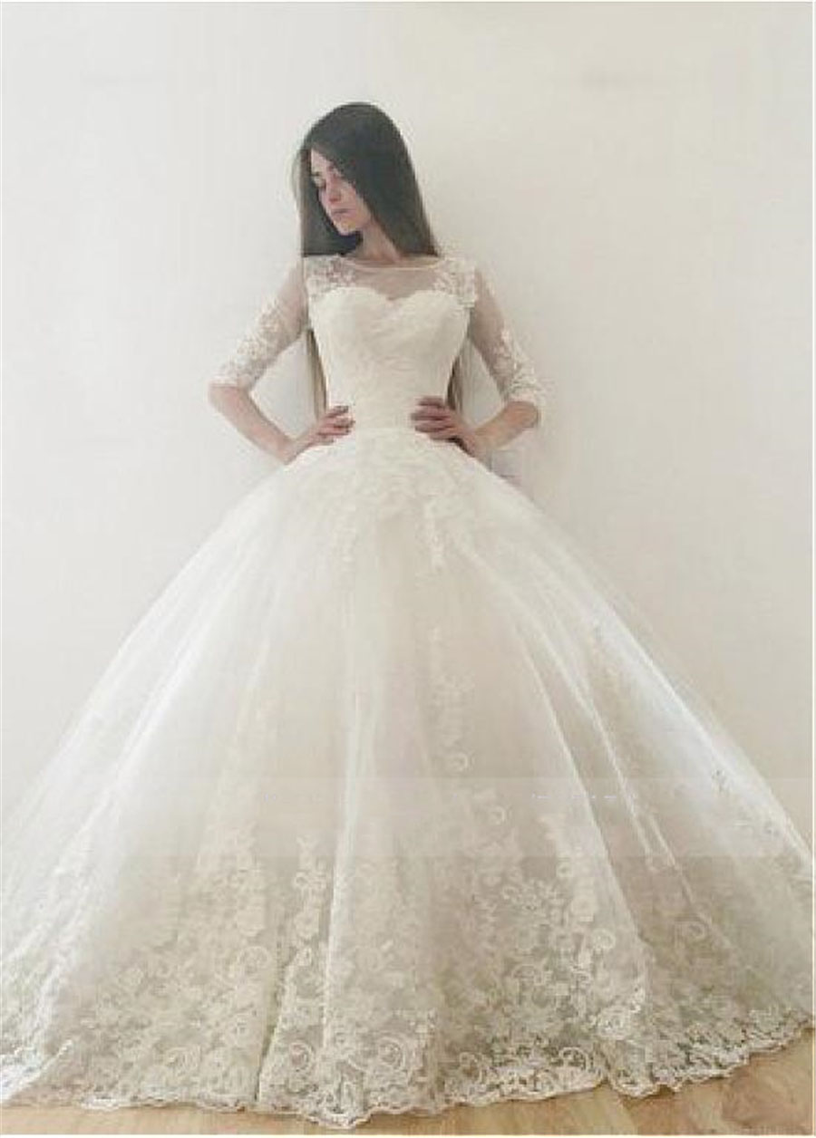Half Sleeves Ball Gown Appliques Lace Wedding Dresses 2020 Modest Bridal Gowns Garden Church Wedding Wear