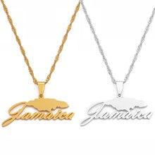 Anniyo jamaïque carte pendentif colliers pour femmes filles couleur argent/couleur or jamaïcain bijoux cadeaux #115521