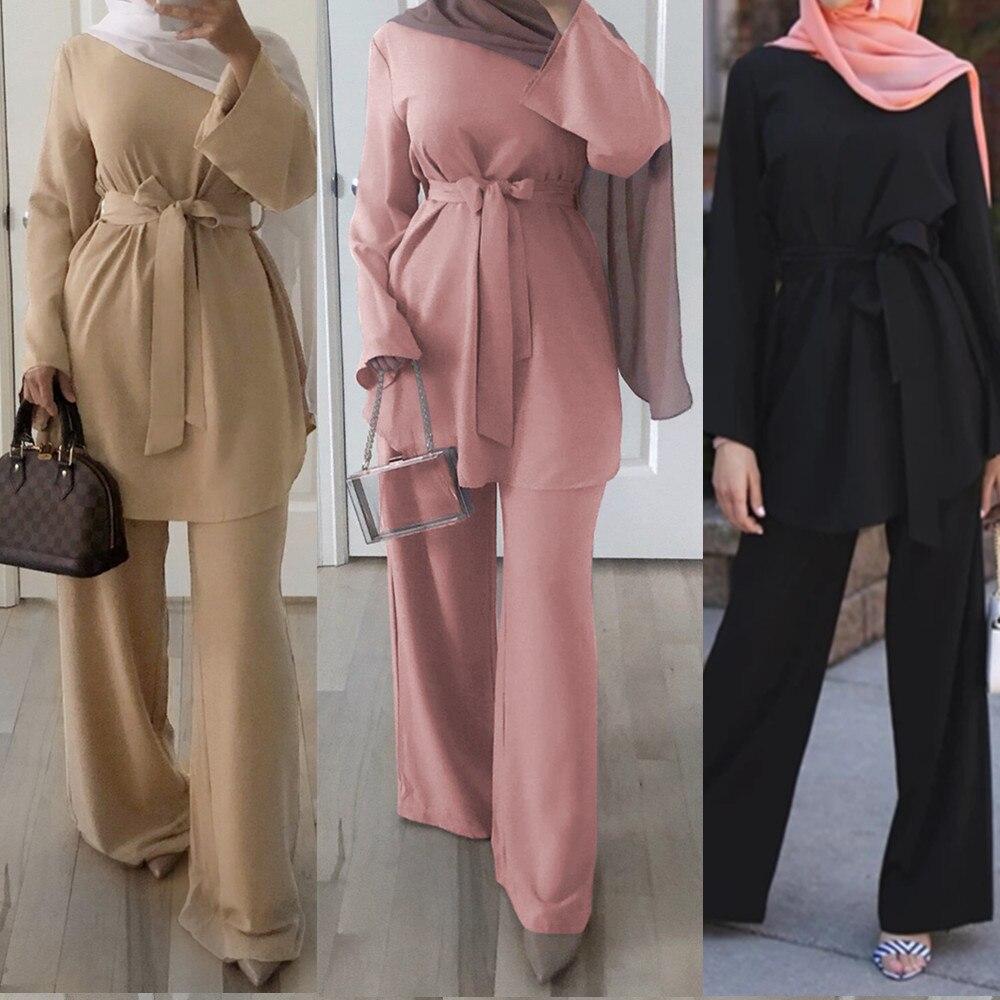 Conjunto de blusa de dos piezas y pantalones de pierna ancha para mujeres Dubai musulmán Abaya con cordones sólido Kaftan señoras Islam ropa islámica turca establece