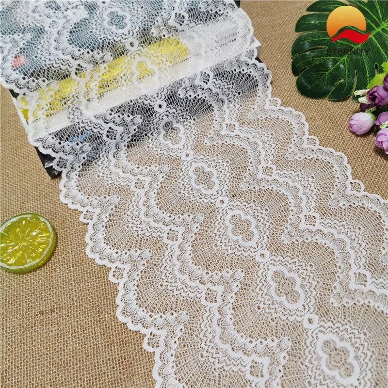 E1109-2 * 25 см, кружевная эластичная кружевная лента для свадебного торжества, эластичная Кружевная декоративная белая лента с большим краем