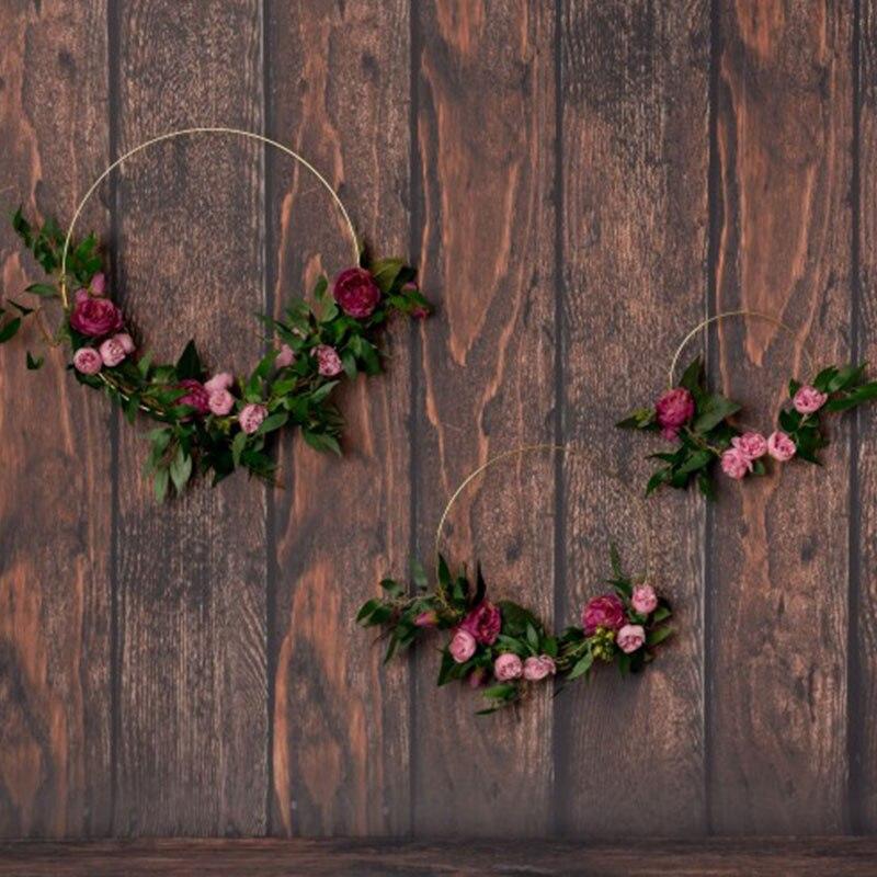 Wedding Decoration 10-40cm Gold Color Iron Metal Ring Round Garland DIY Artificial Flower Wreath Christmas Baby Shower Decor