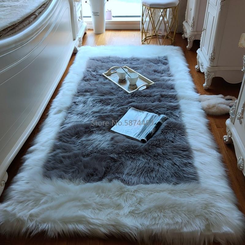 الظهر على شكل فو الصوف سماكة غرفة نوم السرير بطانية طويلة الشعر الرمادي طاولة القهوة لغرفة المعيشة السجاد