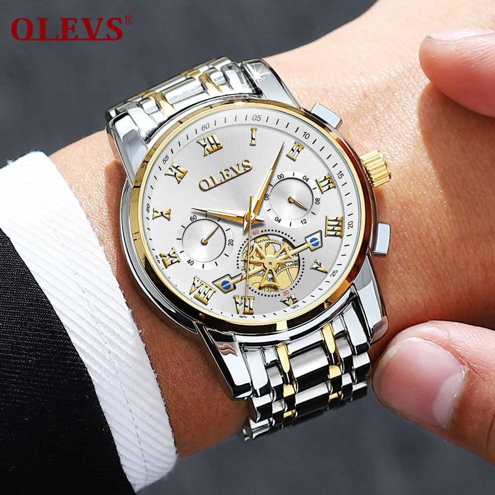 OLEVS-ساعة ميكانيكية للرجال ، ساعة عمل ، كاجوال ، عصرية ، جودة عالية ، توربيون ، 2021
