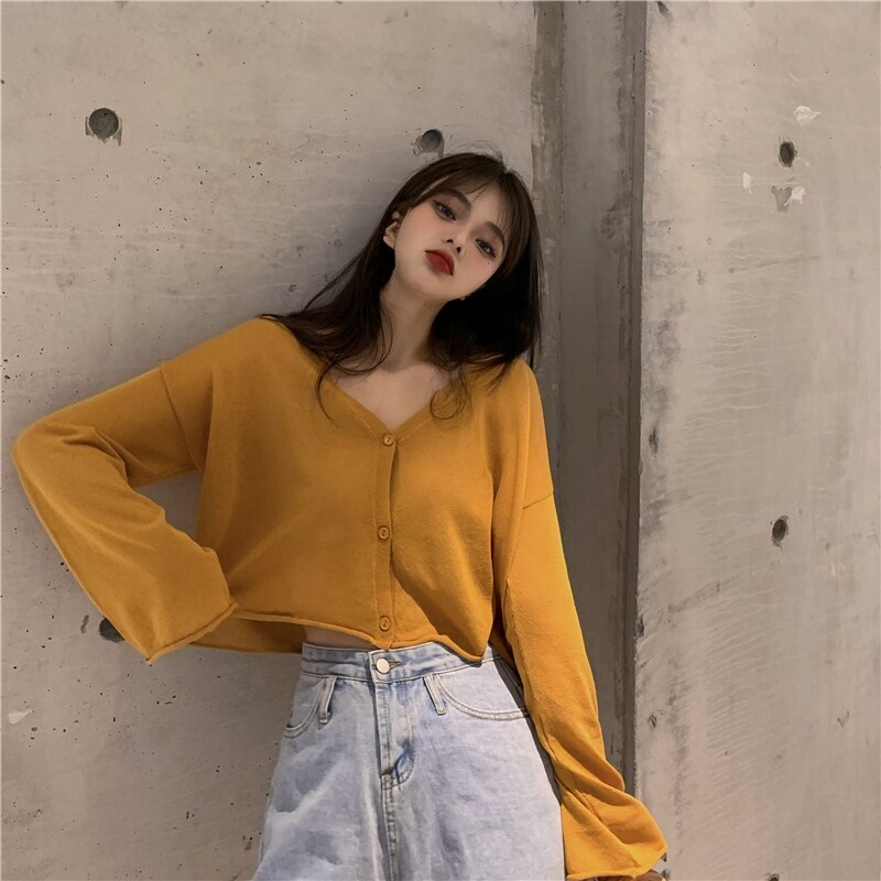 Candy Color Online Influencer Hongkong Style Viscose Fibre V-neck Knit Top Jacket Super Fairy Spring