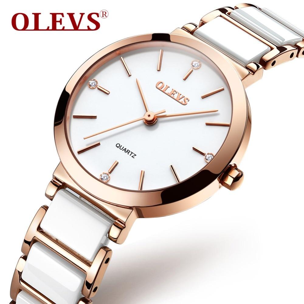 OLEVS نساء ساعات بيضاء سيراميك موضة جديدة بسيطة هاردلكس الهاتفي السيدات فستان ساعة مقاوم للماء كوارتز ساعة اليد L-5877T