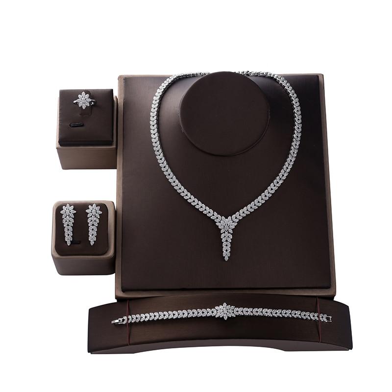 HADIYANA-طقم مجوهرات نسائي ، عصري ، لحفلات الزفاف ، عقد ، أقراط ، خاتم وسوار ، طقم زركون CN1524