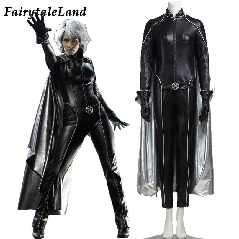 X-men le dernier Stand Ororo Munroe tempête Cosplay déguisement carnaval Halloween super héros tenue noir combinaison Cape argent