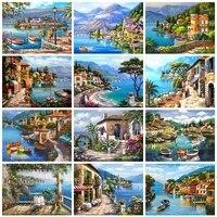 Peinture diamant theme ville  broderie complete 5D  paysage de bord de mer  points de croix  strass carres  decor de maison