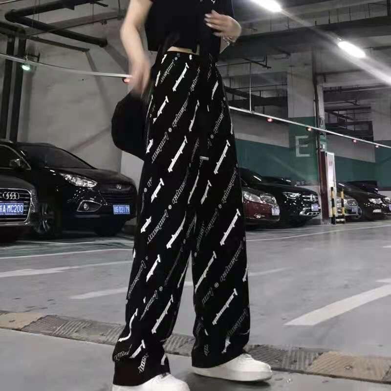 Женские брюки Harlan, летние тонкие спортивные Прямые брюки большого размера с широкими штанинами для девушек, студенческие трендовые повседн...