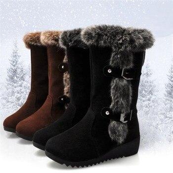 Новые зимние женские ботинки на каждый день; Обувь на теплом меху, ботинки до середины икры; Женская обувь без шнуровки; Круглый носок; Зимние сапоги на танкетке; Туфли под вечернее размера плюс 42