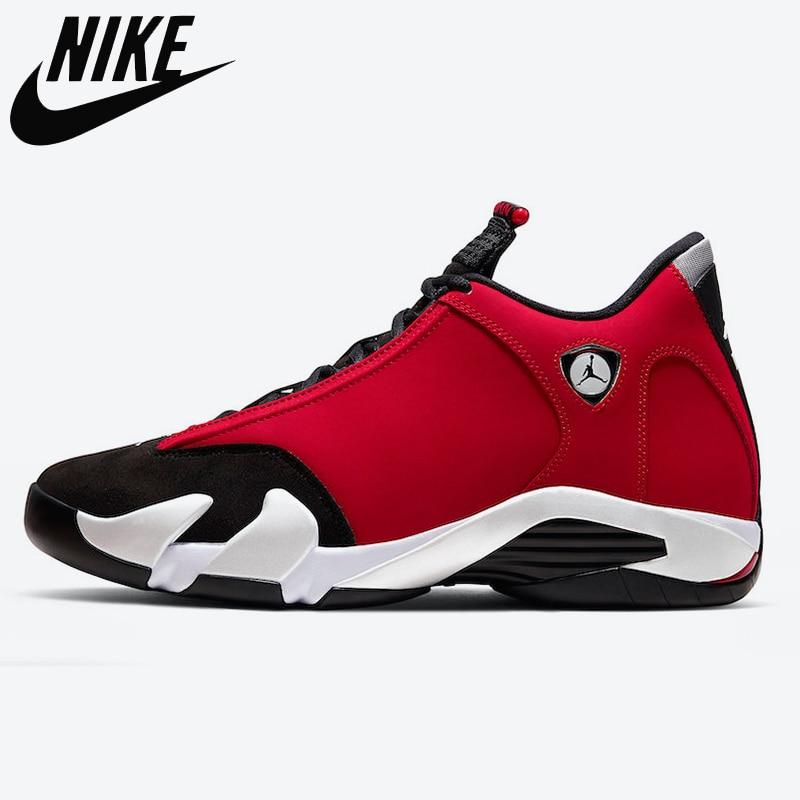 الأصلي الرجال الهواء الرجعية 14 أصيلة الأصلي رياضة أحذية رياضية أحمر تورو التحدي الأسود