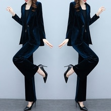 Gold Velvet Small Suit Outfit Women's Autumn Clothing 2021 Younger Fashion Goddess Wide Leg Pants Tw