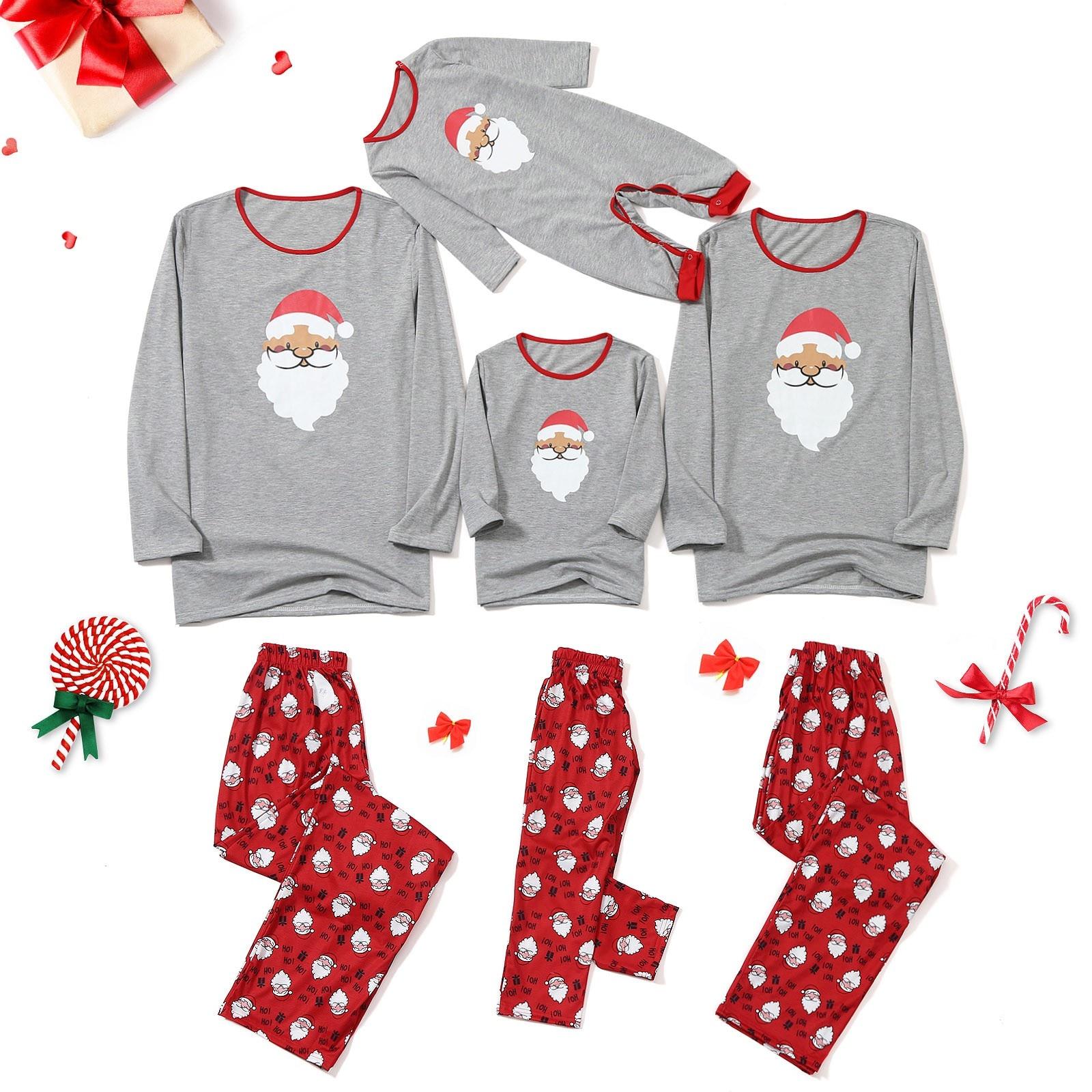 Pijamas Familiares de Papá Noel, Tops, blusa + Pantalones, ropa de dormir...