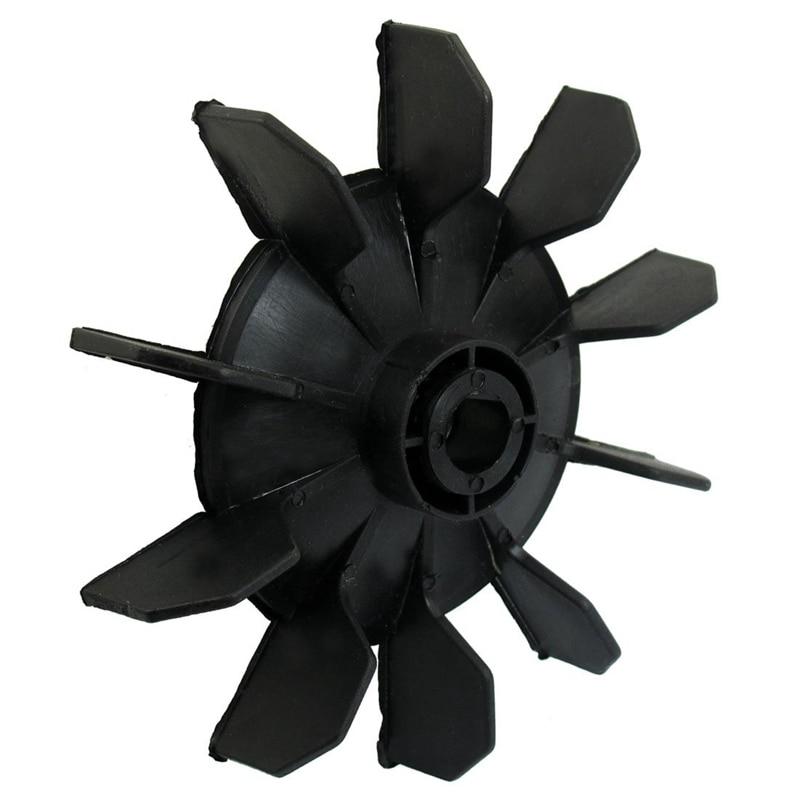 Air Compressor Part Black Plastic 14mm Inner Dia. Ten Vanes Motor Fan Blade