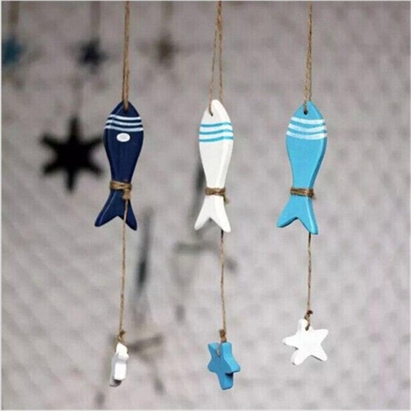 Pez de moda/colgante marino decorado, pez de estrella del Mediterráneo, decoración náutica, colgante pequeño, artesanía, decoración del hogar de madera