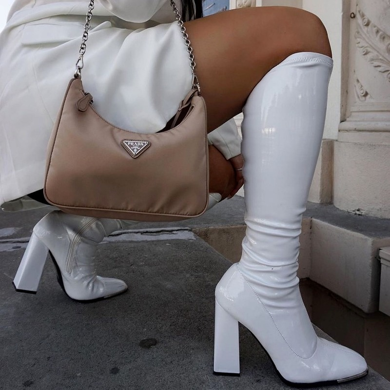 2022 New Woman Boots Square Heel Knee-High Classic Square Toe Boots PU Leather Zip Boots Party Dress