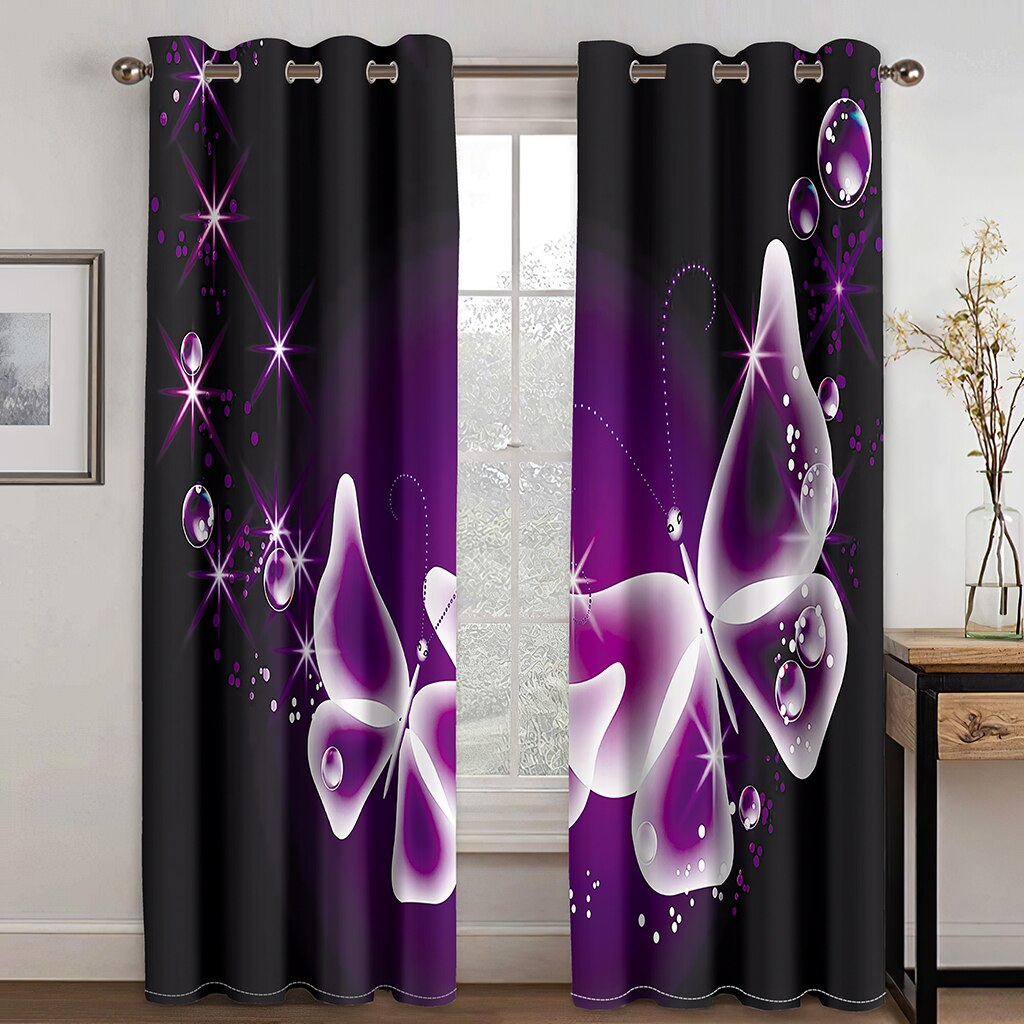 ثلاثية الأبعاد سلسلة سوداء فراشة نمط بسيط ستائر تعتيم مجموعة هوك ، ومناسبة للمنزل الستائر في غرفة المعيشة وغرفة النوم