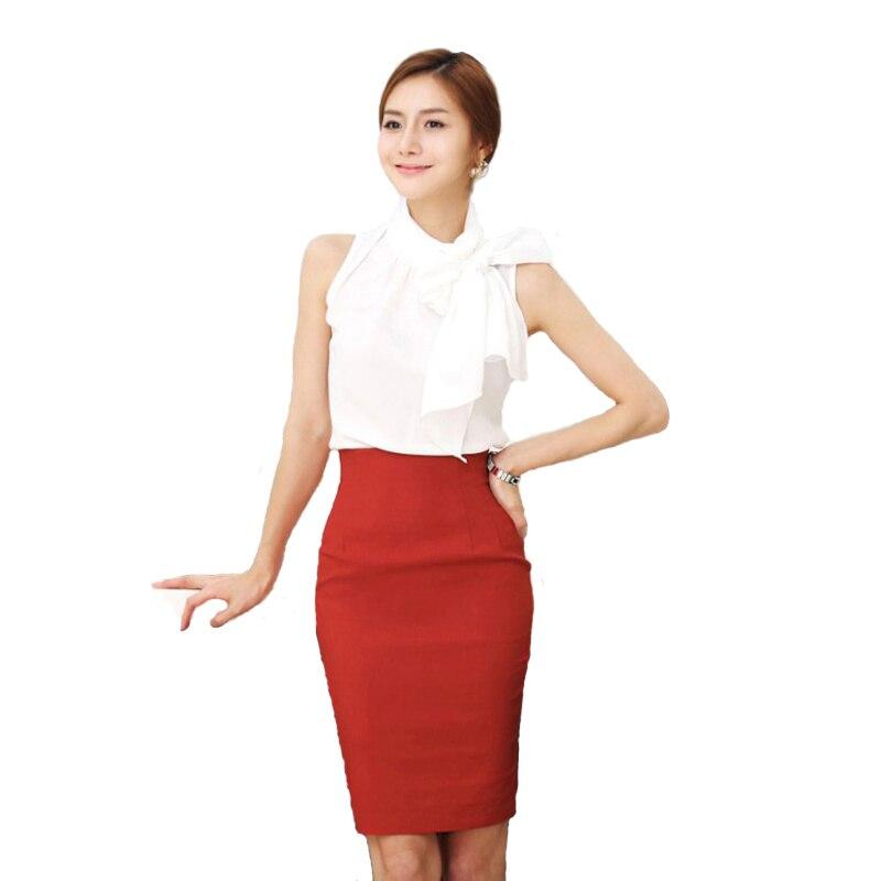 Женская эластичная юбка-карандаш с высокой талией, облегающая красная, черная официальная женская офисная облегающая юбка-карандаш, 2019