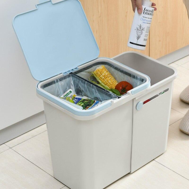 Lata de Lixo Plástico com Tampa Classificada Cozinha Criativo Escritório Lixo Bin Armazenamento Poubelle Ferramenta Limpeza Doméstica Df50ljt