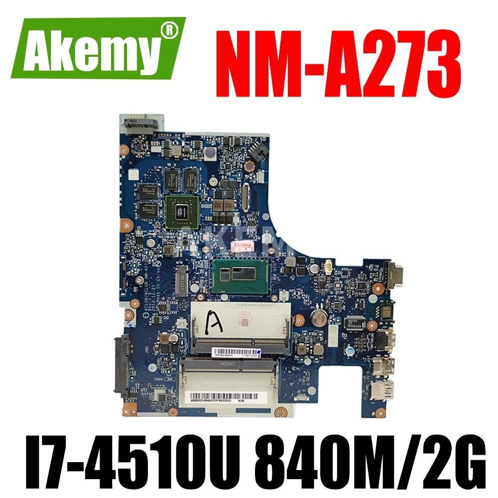 ERILLES Laptop motherboard For LENOVO Ideapad Z50-70 I7-4510U GT840M/GT820M Notebook Mainboard NM-A273 SR1EB N15S-GT-S-A2 DDR3