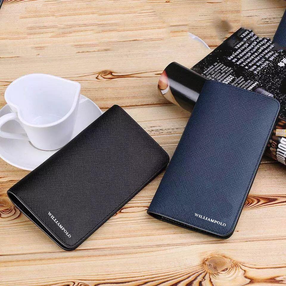 Купить с кэшбэком New Mens Wallet Genuine Leather Bifold Short Wallets Card Holder Slots Pocket Ultra Slim Saffiano Multi Card Purse WILLIAMPOLO