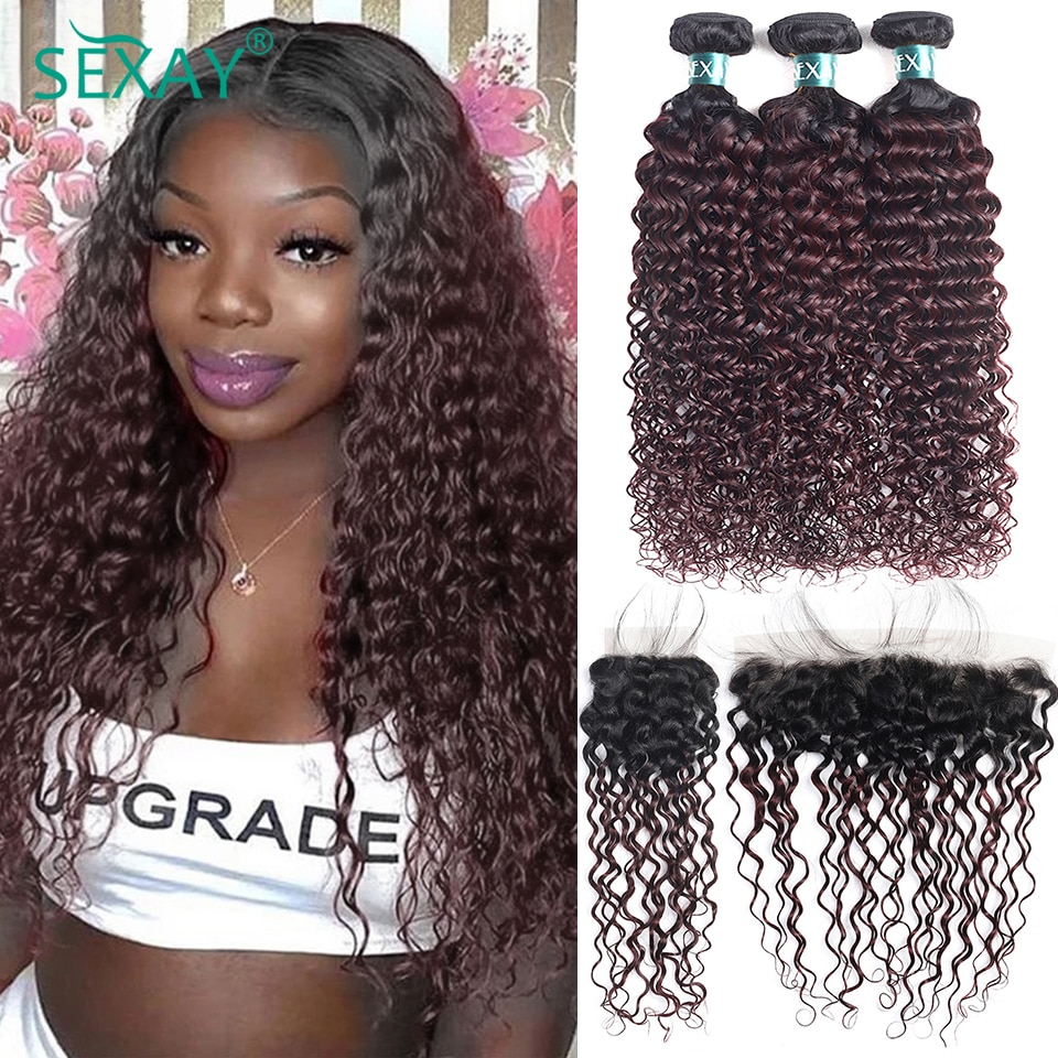 Sexay 99J Bundles With Closure Water Wave 10A Malaysian Ombre Burgundy Human Hair Weave And 4x4 13x4 Swiss Lace Closure Frontals