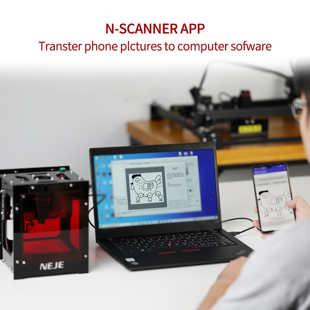 NEJE KZ 10W Mini DIY Laser Engraver Engraving Cutting Machine Wood Leather Mark Router Laser Printer Portable US EU Plug enlarge