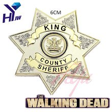 Camisa de ponteira do filme the walking, uniforme morto, estrela, king, condado, sheriff, carta, badge, cosplay, broche, joia, dropshipping, imperdível