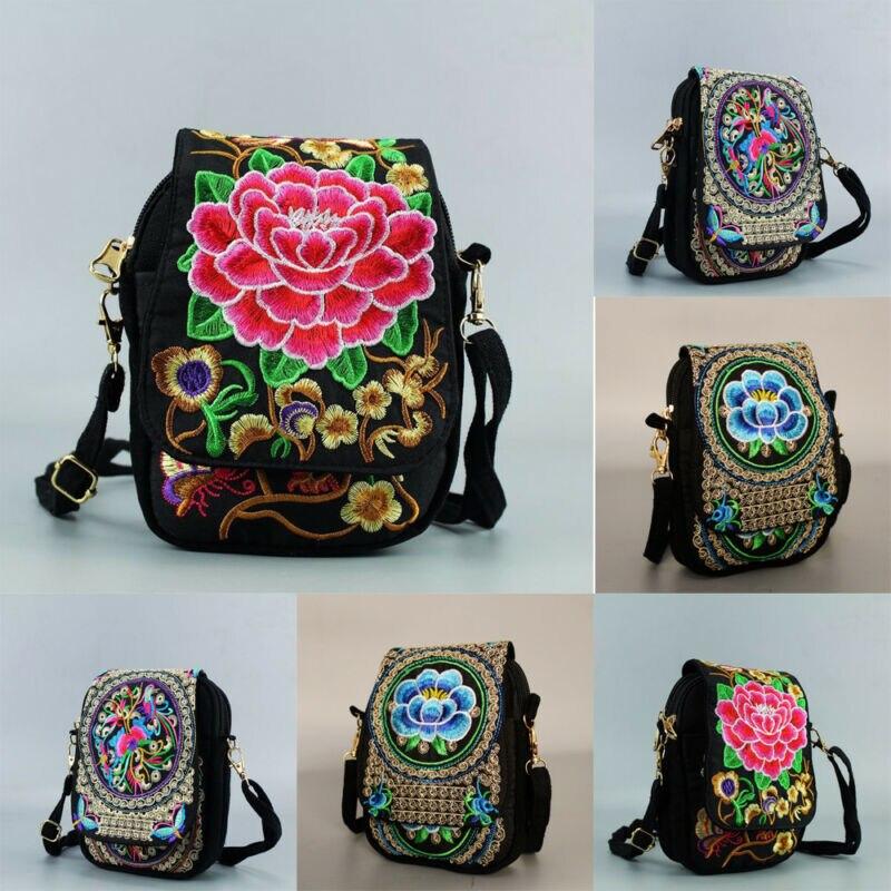 Bolso cruzado bordado para mujer, bolso Vintage Floral para teléfono móvil, bolsos étnicos para mujer, bolso Casual de viaje al hombro para chicas