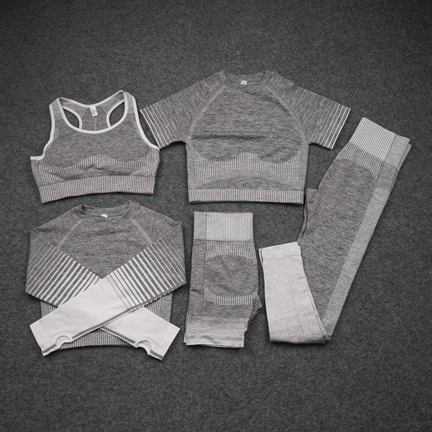 2/3/5PCS Women Seamless Йога Sets Female Sport Gym suits Wear Running Clothes woman Fitness Suit Long Sleeve clothing