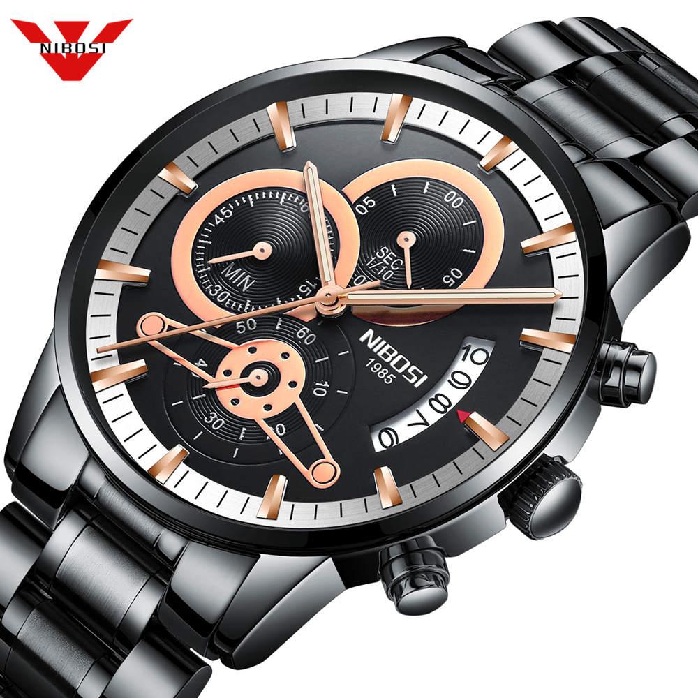 Relojes NIBOSI para hombre, cronógrafo de lujo de la mejor marca, relojes deportivos para hombre, relojes de cuarzo de acero completo a prueba de agua para hombre, reloj Masculino