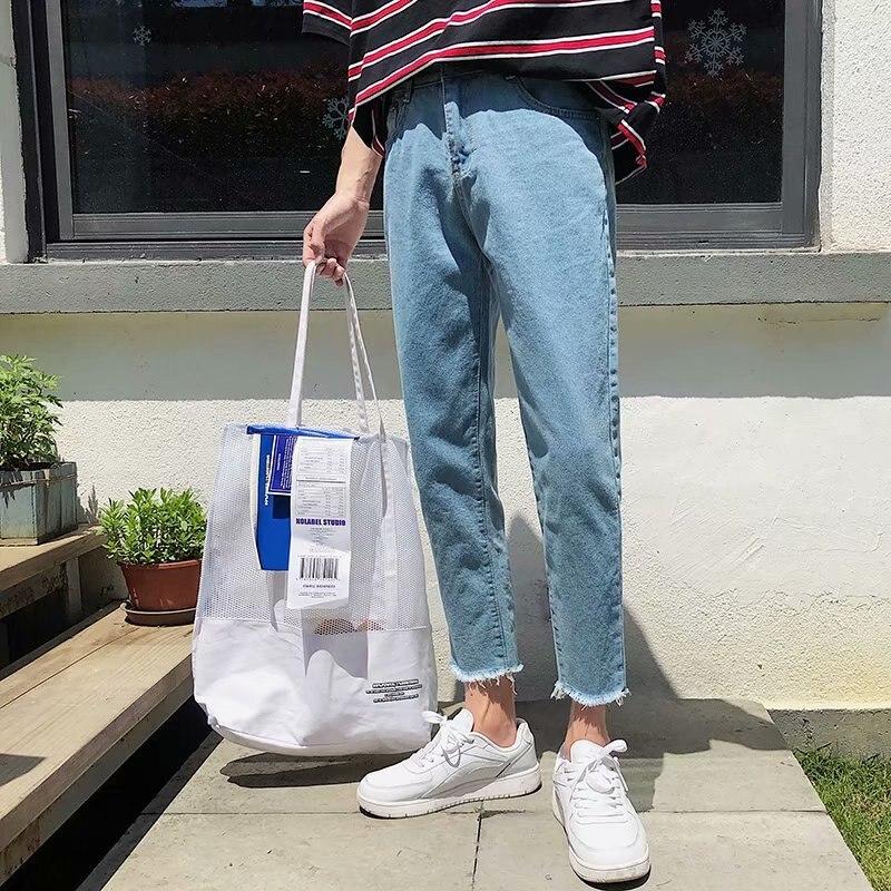 Мужские летние джинсы, тонкие модные потертые однотонные повседневные Прямые джинсовые брюки, мужские уличные брюки в стиле хип-хоп