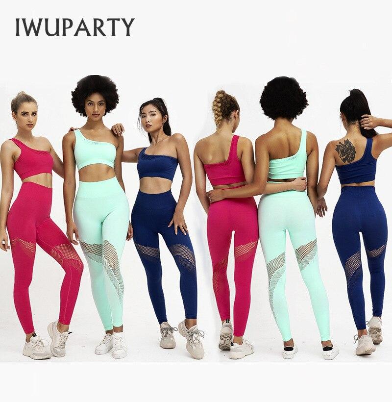 2PCS/Set Fitness Women Joga Suit High Stretchy Workout Sport Suits Hollow Out Sports Leggins-Bra High Waist Pants Gym Sportswear
