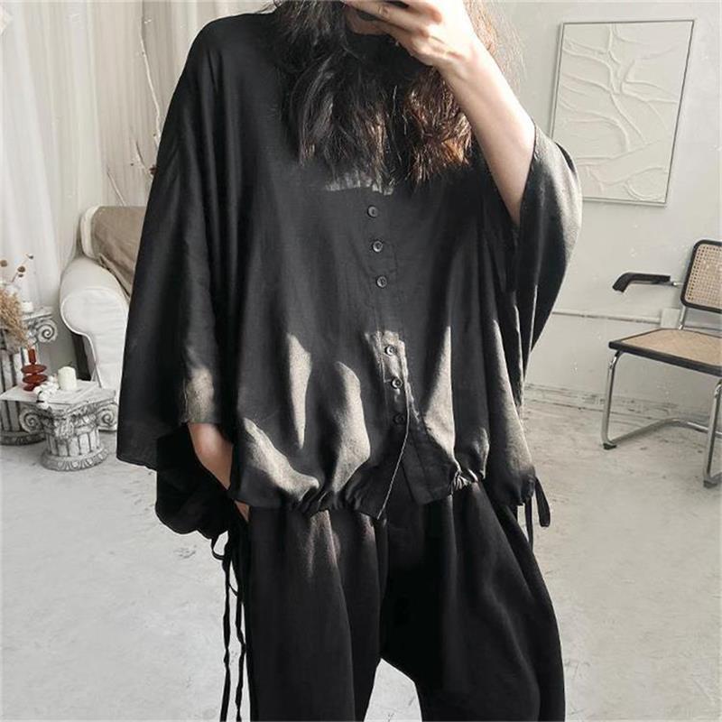 تي شيرت نسائي بأكمام قصيرة قميص الصيف موضة جديدة شعبية اليابانية الخفافيش كم الرباط تصميم فضفاض حجم كبير قميص قصير الأكمام