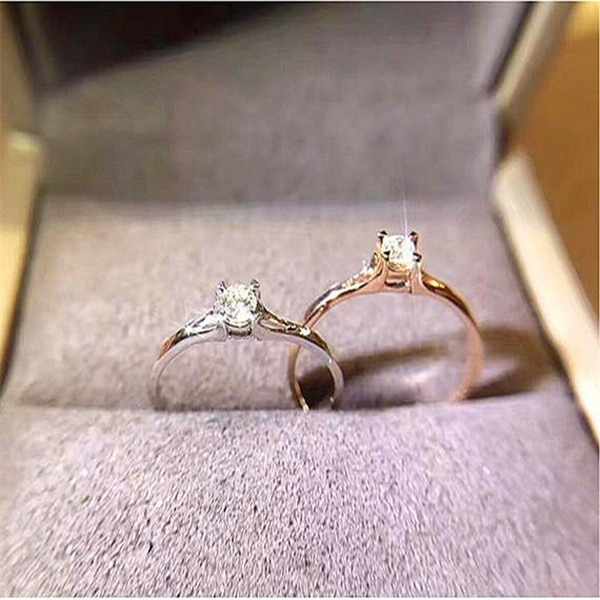 2021 New Simple Fashion Couple Zircon Ring Wild 925 Silver Jewelry Engagement Bridal Small Lady fine jewelry