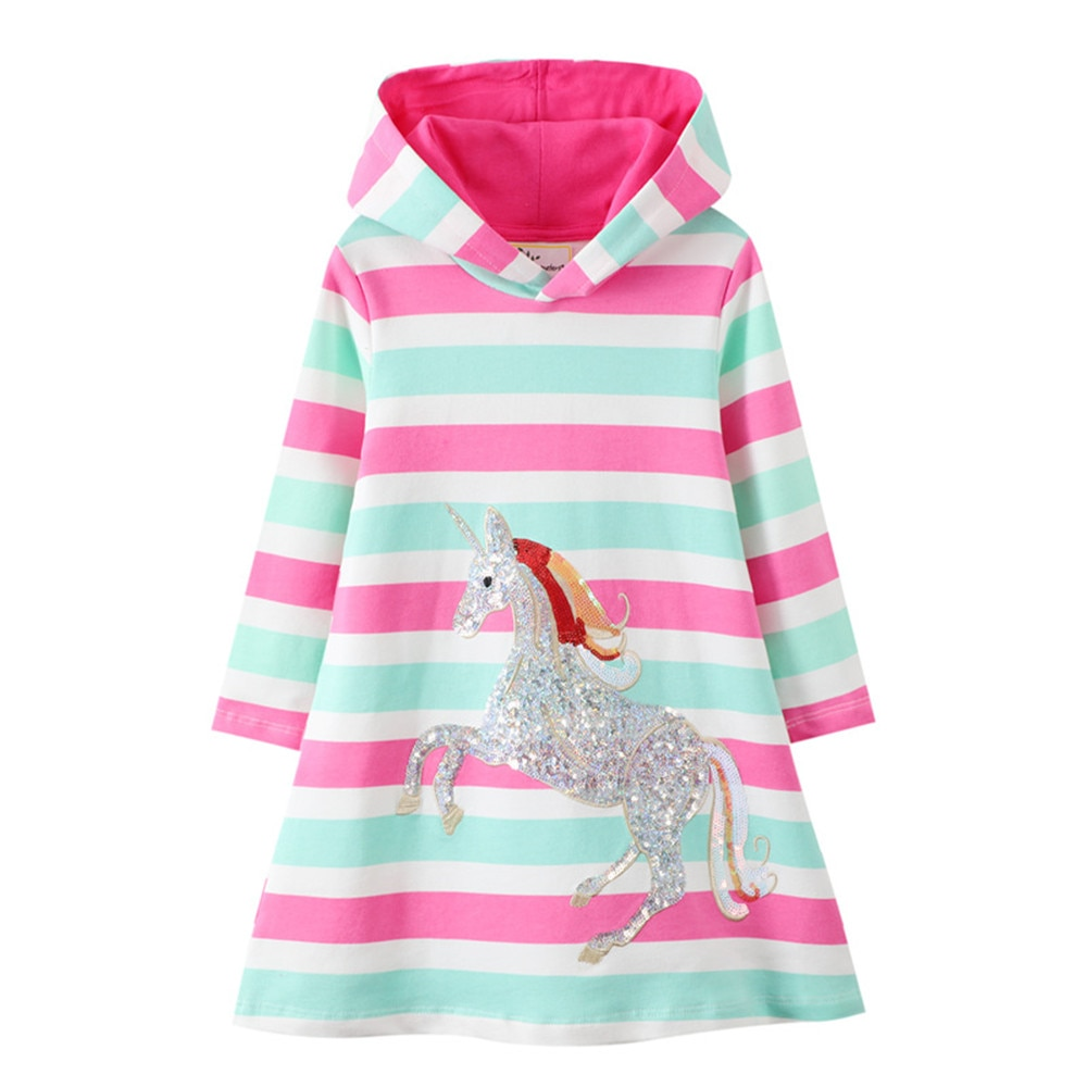 Jumping Meters New Arrival 2020 Unicorn Princess Hooded Dress for Autumn Winter Stripe Fashion Children Cotton Clothing Baby