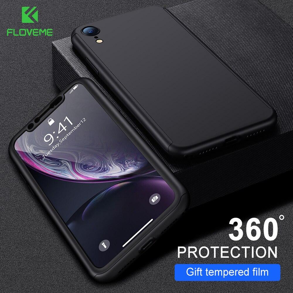 Funda protectora FLOVEME 360 para iPhone 7 funda 11PRO MAX 11 XR XS X 8 6 6S XS MAX 11PRO 6Plus 7 8 6s Plus fundas con película frontal