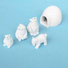 Polar Bear Family Animal Sneeuw Huis Beeldje Ornament Tuin Fairy Decor Glas Diy Accessoires Home Decoratie Miniatuur Pop