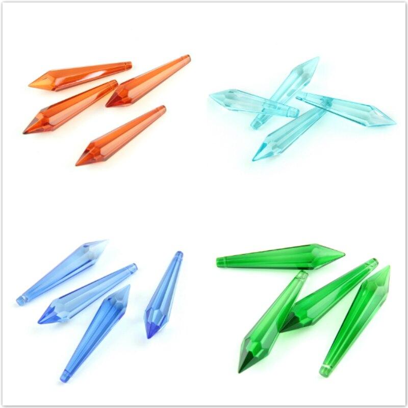 63mm todas las piezas de cristal de iluminación de colores Cristal de candelabro recorte de prisma gotas colgantes multifacetadas