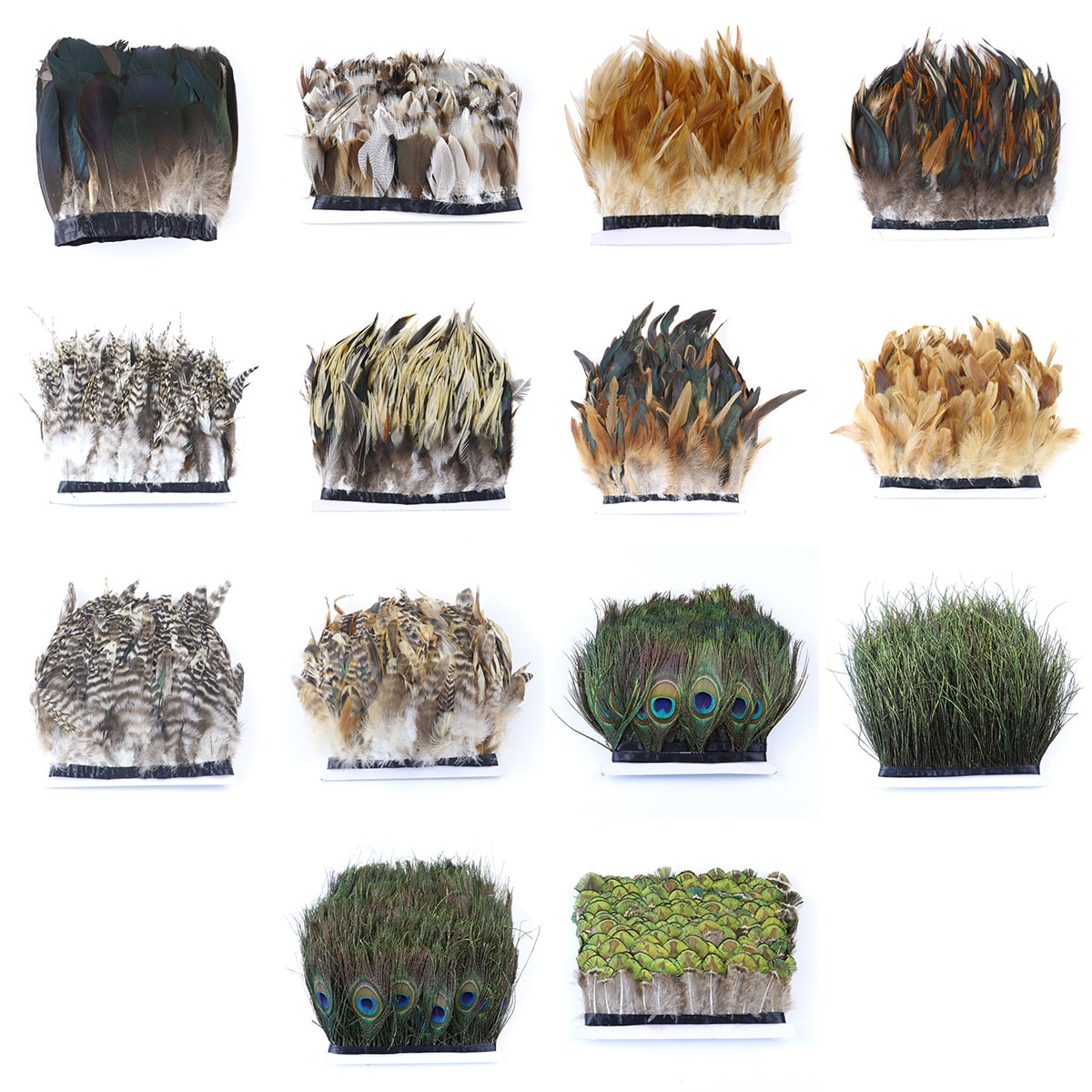 Adorno de plumas naturales de ganso, pavo real, plumas, flecos DIY, artesanías, vestido con cintas, accesorios de decoración 1 yardas