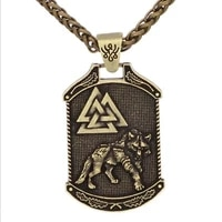 new retro viking viking odin wolf valknut knot pattern pendant necklace mens necklace fashion pendant viking jewelry accessorie