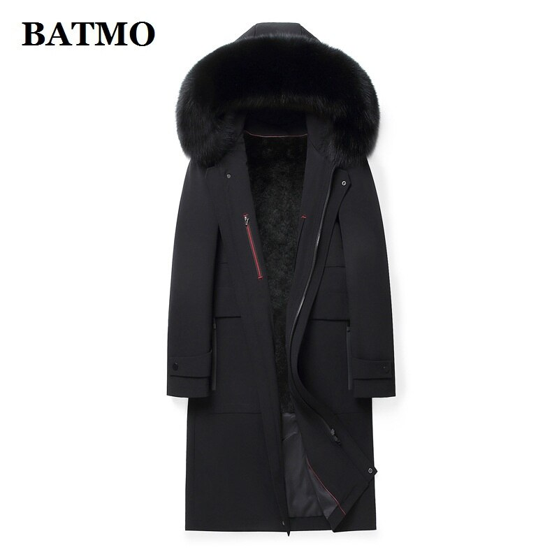BATMO 2021 الشتاء الطبيعي الثعلب الفراء طوق و الأرنب الفراء بطانة سترات معطف الرجال ، خندق معطف ، طويل جاكت مزود بغطاء للرأس 225