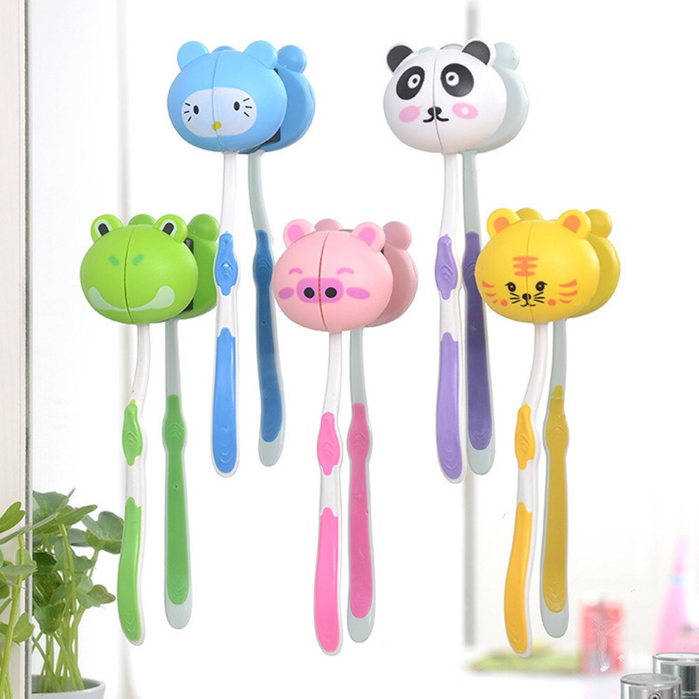 1PC Wall Mounted Heavy Duty Suction Cup Antibacterials Toothbrush Holder Hooks Set Toothpaste Lovely animal Suction Cup Holder