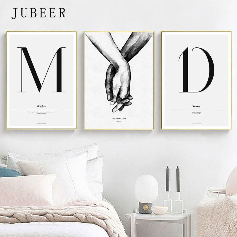 Zitat Wörter Nordic Stil Leinwand Malerei Einfache Liebe Poster und Drucke für Wohnzimmer Paare Wand Kunst Malerei Wohnkultur