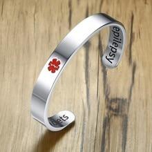 Bracelet de manchette personnalisé Bracelet didentification diabétique médical pour hommes alerte à lallergie médicament estampillé à la main Pulseira