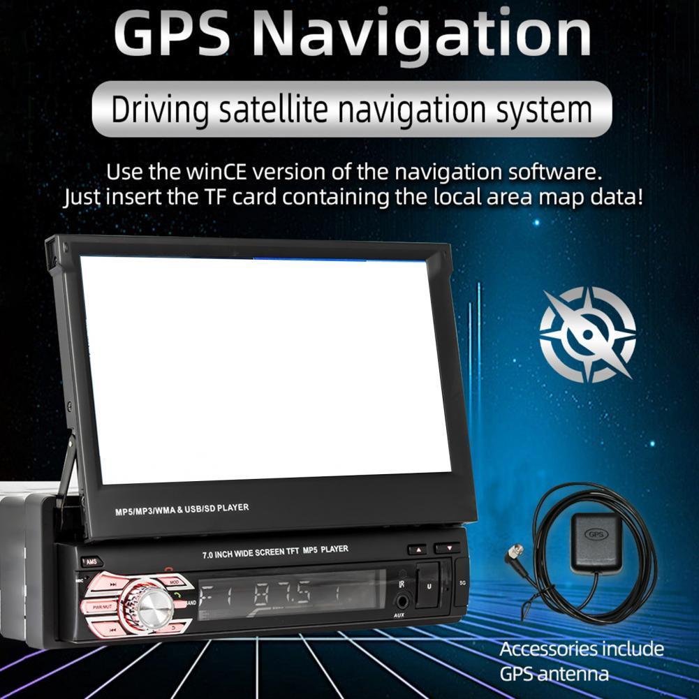 7-дюймовый автомобильный мультимедийный плеер HD, складной экран, навигация, Bluetooth U-диск, MP5-плеер, встроенный хост заднего хода для транспорт...