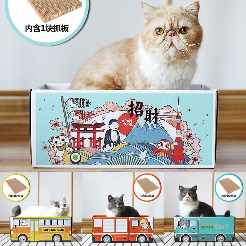 Creativo gato cama casa gato gatito rasguño papel de cartón corrugado nido caja de arena resistente al desgaste caja de leche nido Gatos